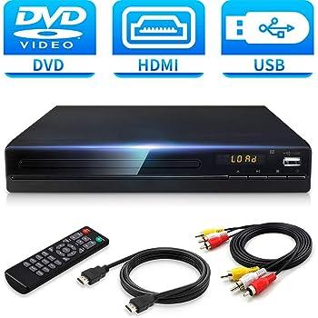 Jinhoo DVDプレーヤー1080Pサポート DVD/CDディスクプレーヤー 再生専用モデル 音楽再生 ブラック CPRM対応 リージョン フリーリモコン AVケーブル HDMIケーブル付き 録画 番組 テレビ 地上デジタル放送 テレビ/プロジェクター接続可能