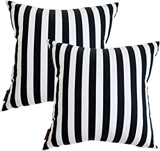 WvvTee Set of 2 Classic Lovered Series Throw Pillow Cover,Cushion Cover for Patio Lounge Sofa,Black White Striped,18x18 Inch/45x45 cm