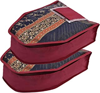 Kuber Industries 2 Piece Non Woven Blouse Cover With Front Transparent Window With Attached Pocket Set (Maroon)