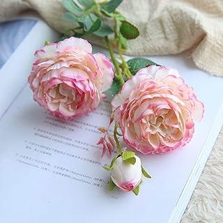 RaiFu 花束 ブーケ 1ブランチ3頭 模擬 シルク ブライダル 牡丹花 結婚式 人工花 ロマンチック インテリア 部屋飾り 雰囲気 1本 ホワイト ピンク辺