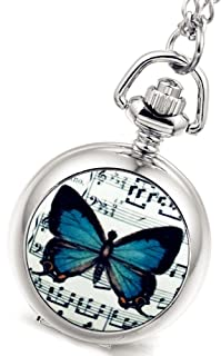 Women's Girl's Beautiful Butterfly Silver Quartz Chain Pocket Watch with Gift Bag