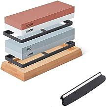 Knife Sharpening Stone Set, Premium Whetstone Sharpener Kit 4 Side Grit 400/1000 3000/8000 Professional Kitchen Knife Shar...