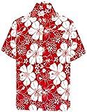 LA LEELA   Funky Camisa Hawaiana   Señores   Manga Corta   Bolsillo Delantero   Impresión De Hawaii   Playa   Hibisco Floral Flor Impreso Blood Rojo_W301 XL - Pecho Contorno (in cms) : 121-132