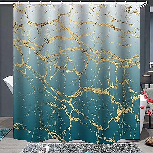 AlanRoye Teal Ombre Gradient Shower Curtain Abstract Gold Glitter Marble Greyish White to Turquoise Teal Cracked Lines Machine Washable Bathroom Decor Set with Hook Bath Curtain 72 x 72