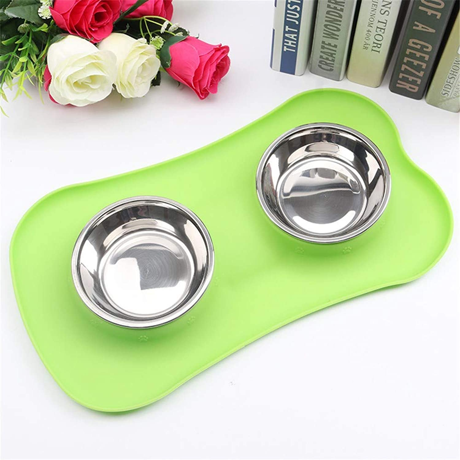 PeachBlossomSource New Creative Sunscreen Silicone Pet Double Bowl Environmental Predection Silicone Antiskid Tableware Dog Bowl,Green,S