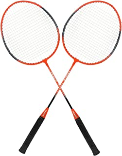 Guru Track BS05 Pack of Two Racket Badminton Set, Size 27 Inch With Cover (Orange)