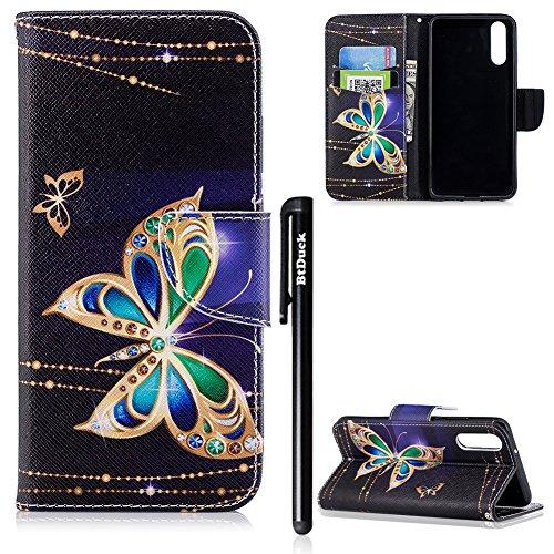 BtDuck Huawei P20 Hülle, PU Leder Hülle Magnet Flip Case Cover mit Silikon Schutzhülle Mädchen Brieftasche Tasche mit Standfunktion Schmetterling Muster Kinder Geschenk Handyhülle für Huawei P20