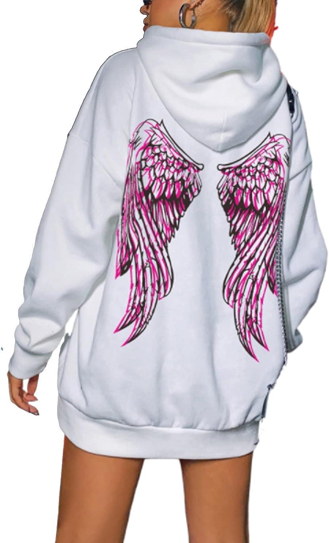 Women Oversized Angel Wings Print Hoodie Pink Letter Printed Loose Long Sleeve Sweatshirt E Girl Casual Pullover Top