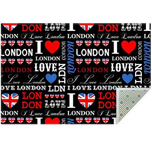 Lorvies I Love London - Alfombra antideslizante para salón o dormitorio, 59 x 39 pulgadas, poliéster, multicolor, 160x120cm/63x47in