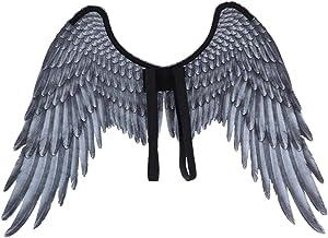 Paire d/'AILES plumes NOIRES déguisement Femme Homme Ange Halloween NEUF