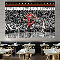 ジェームズバスケットボールスター6#ぶら下げ布、熱い火事チーム背景布3D印刷タペストリーベッドルーム寮のベッドサイドの壁の布の装飾絵画 F-150*110CM