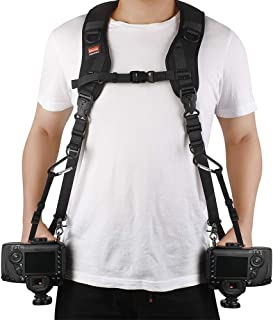 Ztowoto Camera Strap Double Shoulder Camera Strap Harness Quick Release Adjustable Dual Camera Tether Strap and Safety Tet...