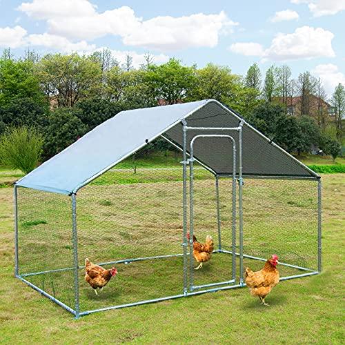 Jaula de gallinero de metal grande para gallinas, gallinas, conejos, jaula de hábitat, con cubierta impermeable y antiultravioleta para uso en granja de patio trasero (10 pies de largo x 6.2 pies de ancho x 6.4 pies de alto.
