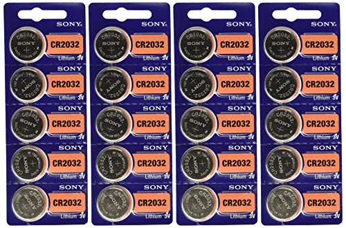 Sony 3V Lithium CR2032 Batteries (4 Blisters of 5), 20 Cells