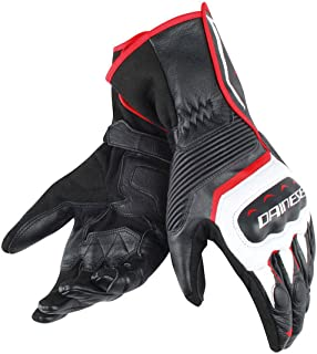 Dainese Assen Leather Gloves Black/White/Lava Red XXL