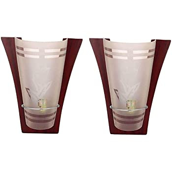Improvhome Set of 2 Wooden Uplighter LED Wall Light (Model : P-4)