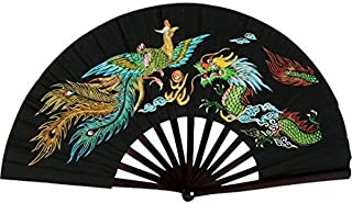 BladesUSA Bamboo Kung Fu Fighting Fan Dragon And Phoenix (Black), 13-Inch Long/23.25-Inch Wide when Opened