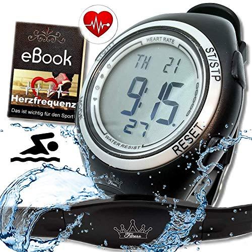 bestbeans© Heartbeat Puls-Uhr mit Brustgurt Herzfrequenz-Messung & Fitnesstudios ANT Trainingsbereich, Kalorienverbrauch Fettverbrennung Sportuhr Wasserdicht (Pro)