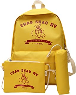 SUNyongsh Fashion Women's Small Fresh Three-Piece Bag Nylon Backpack Messenger Bag