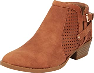 Cambridge Select Women's Laser Cutout Perforated Stacked Chunky Low Heel Ankle Bootie