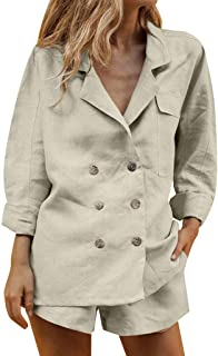 Women's Two Pieces Ladies Suit Summer Casual Set Work Blazer Jacket and Shorts Suit