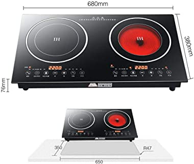 Portable Electric Induction Cooker - 2200W 8 Levels Electric Dual Induction Cooker Cooktop Countertop Double Burner Suitable for Cast Iron, Stainless Steel Cookware and Kitchen or Resturant - US Shipping