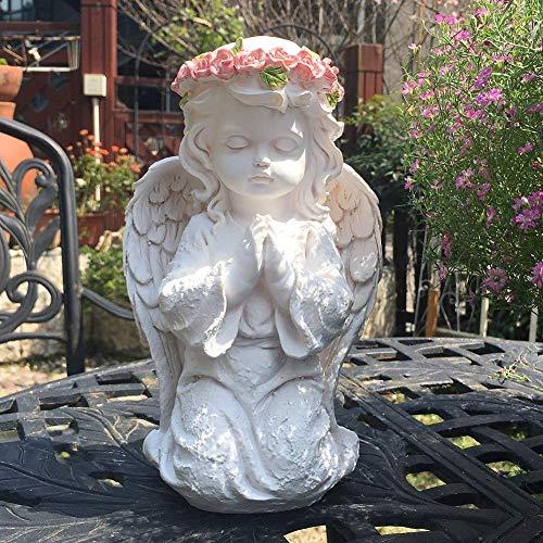 LXLH Angel Statues and Figurines for Garden, Kneeling Praying Cherub Sculptures Home Decor, Indoor Outdoor Home Garden Decoration,White