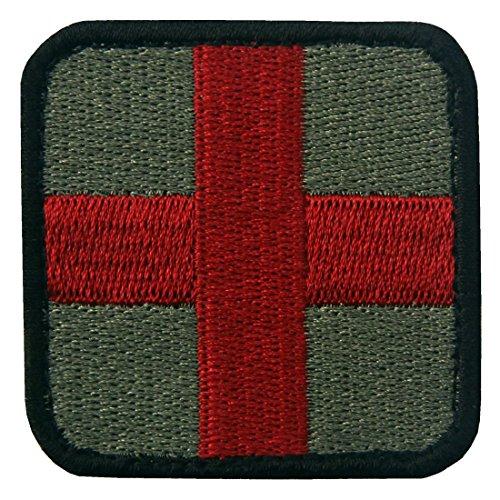 Taktisch Medic Kreuz Armee-Moral ACU Bestickter Aufnäher mit Klettverschluss, Olive und Rot