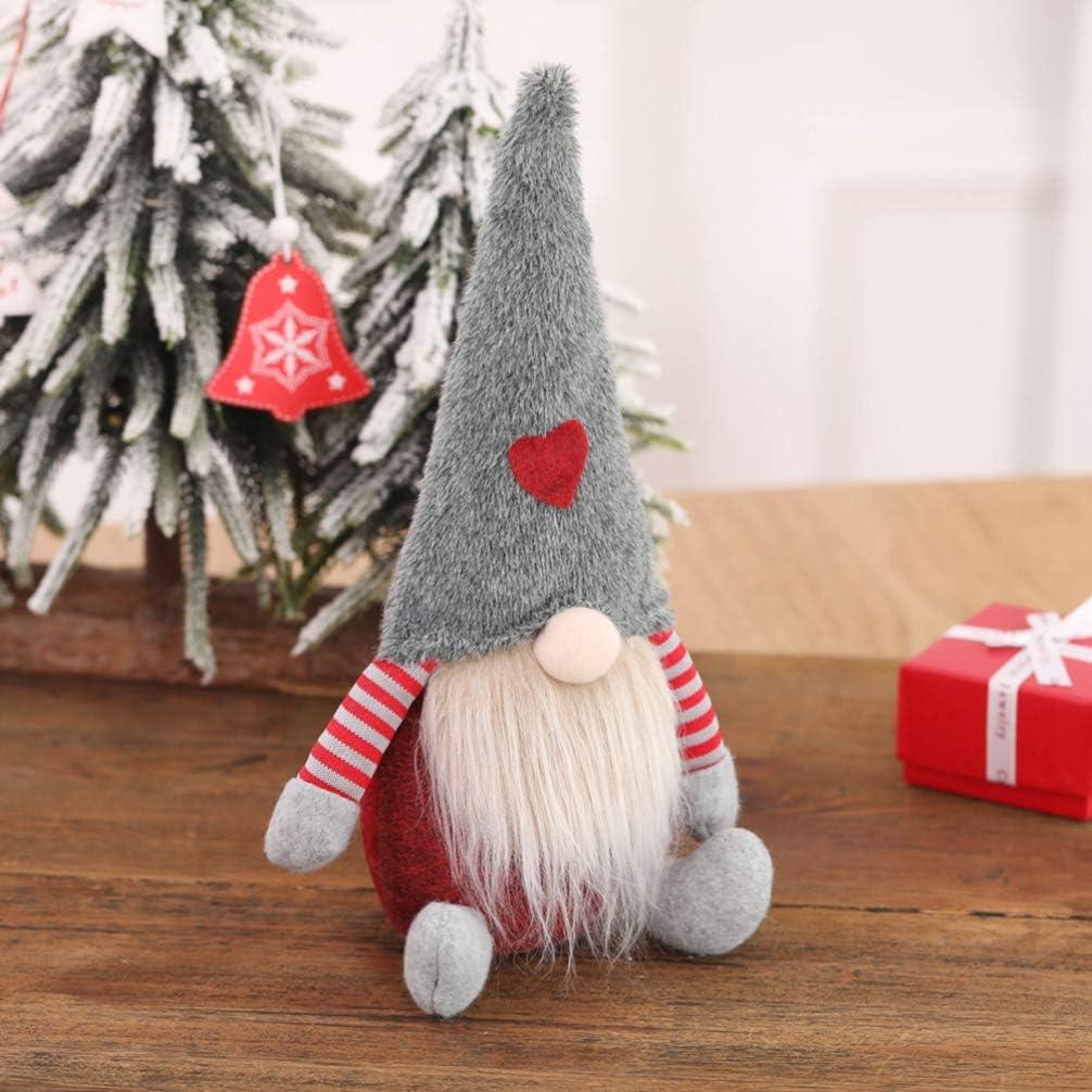 Happyyami Christmas Gnome Decoration Sitting Swedish Gnome Doll Christmas Elf Figurines Christmas Table Decorations Xmas Toy Gift Grey