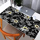 N\C Blumenpad großes schwarzes Gaming-Mauspad Blumenmauspad Gamer 900x400 Gummitastaturpad Tischpad Pad Tischdekoration Teppich