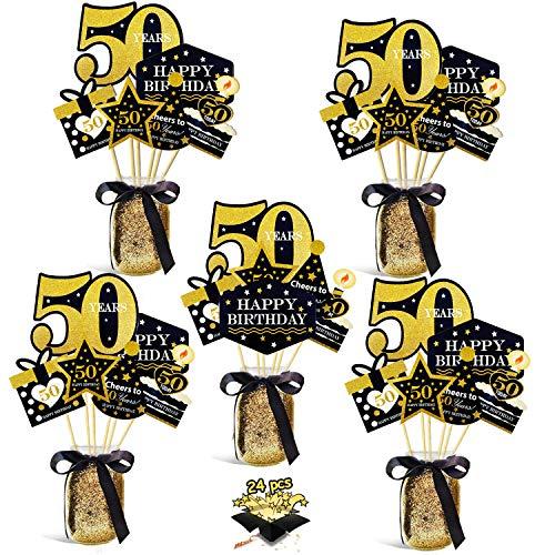 HULASO 50. Geburtstag Party Dekoration schwarz und Gold Geburtstagsdeko Herzstück Sticks für Junge Mädchen Tisch Geburtstagsfeier Dekoration Glitter Tischdeckel Partyzubehör 24 stück