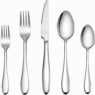 LIANYU 40-Piece Stainless Steel Silverware Set 30-Piece Silver