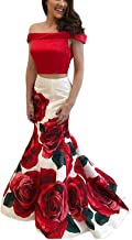 FTBY Print Prom Dress Satin Evening Gowns Women With Pockets Ball Gown