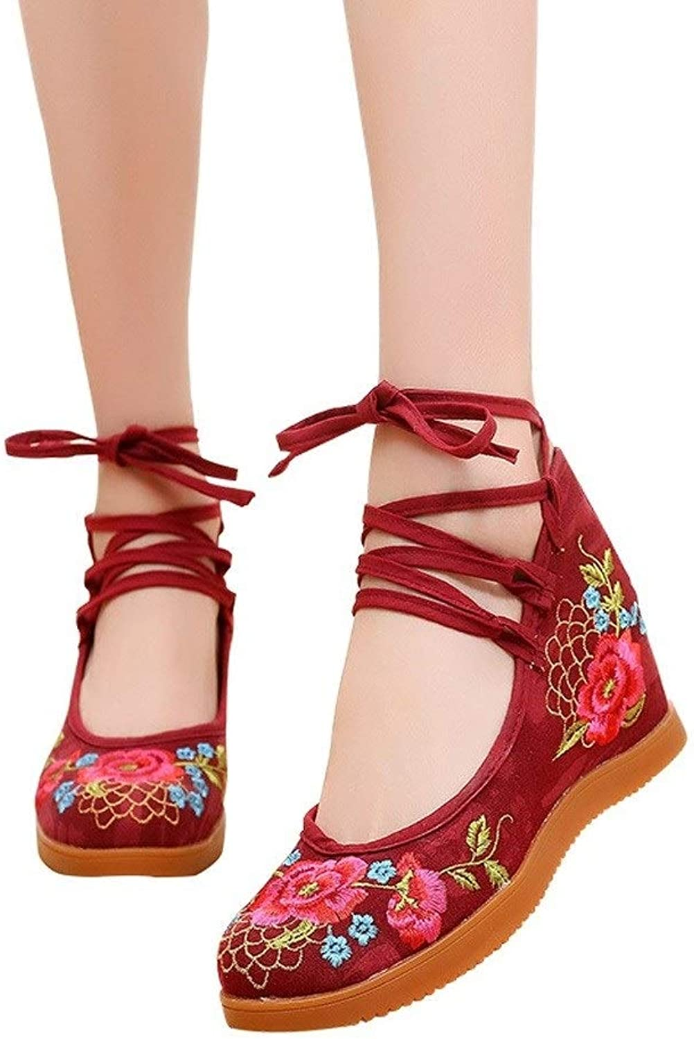 Lian Embroidered shoes Women's Old Beijing Cloth shoes Embroidered National Wind Increased in The Spring with A Single shoes