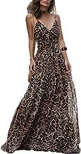 ilovgirl Sexy Vestido de Leopardo de Cuello en V Espagueti Correa Vestido Maxi Mujer Verano Gasa Playa Vestido Largo (L)