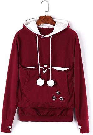 03add901 Womens Unisex Big Kangaroo Pouch Hoodie Cat Ear Long Sleeve Pet Dog Holder  Carrier Sweatshirt