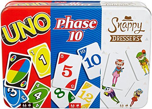 Mattel Games: 3in1  UNO Phase 10 and Snappy Dressers Tin Box