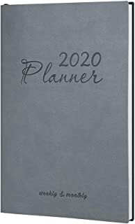 2020 Day Planner Monthly Weekly Leather Planner A5 Daily Work Life Agenda Book Student School Planner Gray