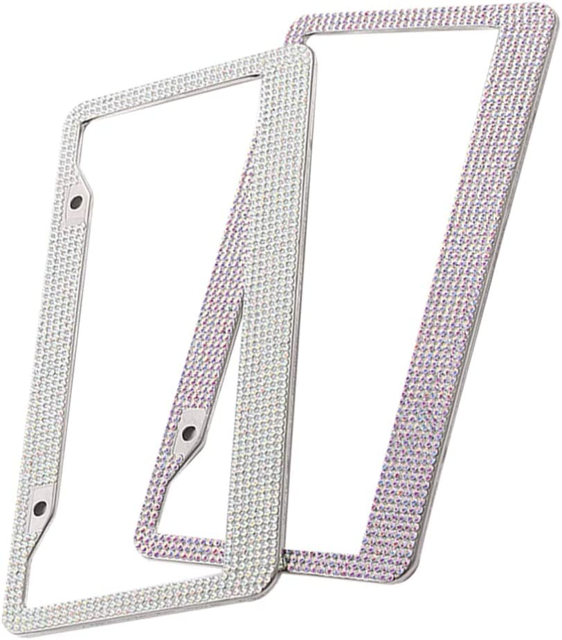 Wakauto 2pcs Bling License Plate Handcrafted Ranking TOP8 Fr Car Frame Luxury Many popular brands