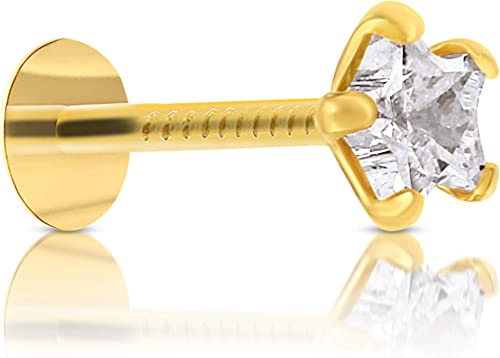 Gehlot Star Shape White Diamond 14K Pure Yellow Gold Nose Pins Studs Diamond Nose Pins For Women And Girl White Star