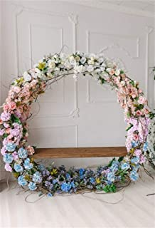AOFOTO 7x10ft Wedding Circular Floral Garland Backdrops for Photography Bride Girl Kid Adult Birthday Photoshoot Celebration Bridal Shower Engagement Party Background Decoration Photo Studio Prop