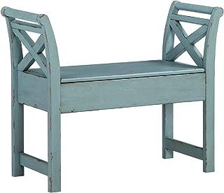 Ashley Furniture Signature Design - Heron Ridge Storage Accent Bench - Antique Blue Finish - Hinged Seat