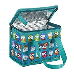 Lovely Owl Lunch bag ,Easy to clean SIZE:22cm X 16cm X 12cm/Soft Lunch Coolers with 6 cans Beers Top cover zipped design ,separate food from fork and knife Velcro design,Easy to Carry and Fold Double zipper, durable and smooth