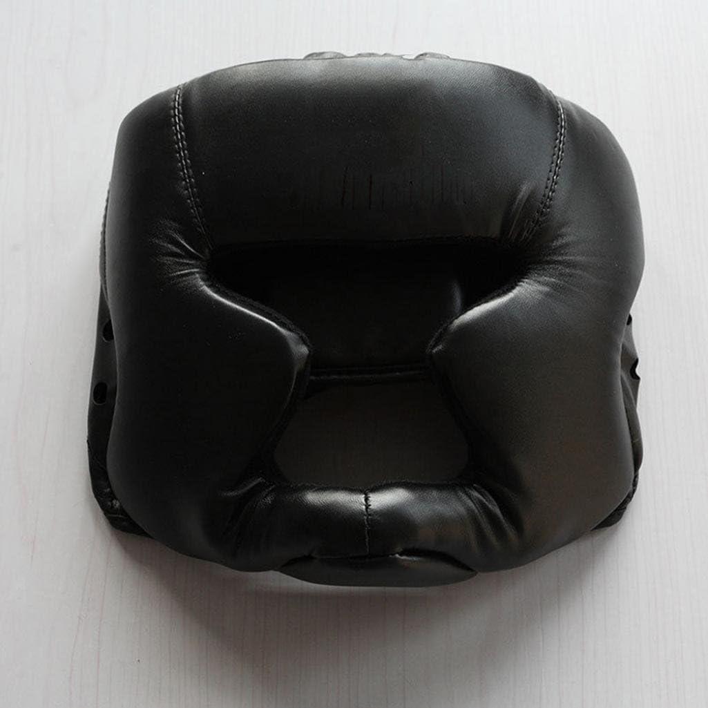 geshiglobal Faux Leather Boxing Martial Arts MMA Helmet Head Guard Headgear Head Protection