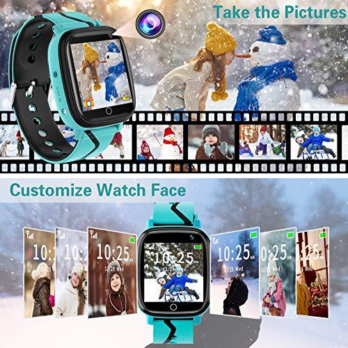 Smartwatch für Kinder, Telefonfunktion Smartwatch für Jungen Mädchen 4-12 Jahren Touchscreen Telefon Uhr mit Anruffunktion Spiele Musik Player Taschenlampe Kamera Wecker Geschenk (Blau)