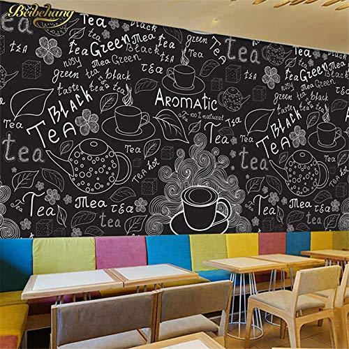 Tony plate Obra De Arte 3D Pizarra Pintada A Mano Papel Tapiz De Cafetería En Blanco Y Negro Bar Informal Restaurante Restaurante Papel Tapiz Wa-430Cmx300Cm(169.3X118.1Inch)