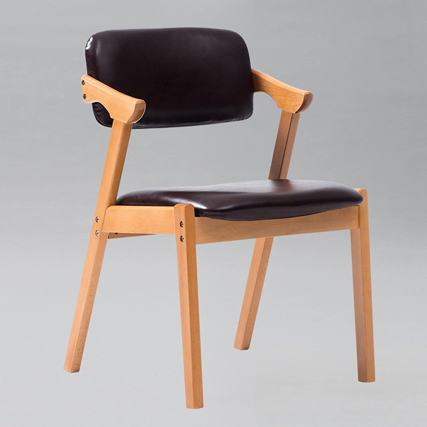 Backrest Stool Home Dining Table Stool Nordic Minimalist Cafe Leather Chair Solid Wooden Stool Feet (color   Dark Brown)