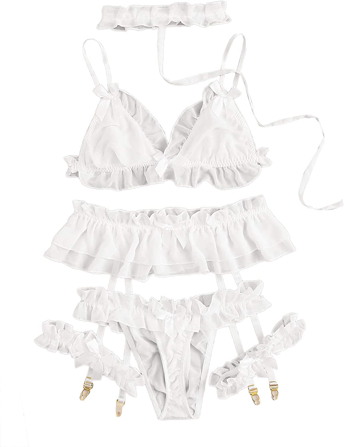 SheIn Special price Women's Ruffle Bralettes and Lingerie wi In a popularity Panty Chiffon Set