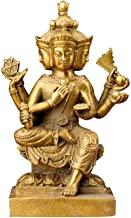 Brass Statue, Thai Four-Faced Buddha Statue, Religious Temple Decor, tive, Feng Shui Crafts Figurines (9.5X7X15cm)