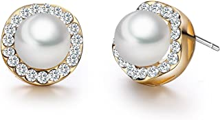 18K Rose Gold Plated White Shell Pearl with Cubic Zirconia Halo Stud Earrings (7.5mm)